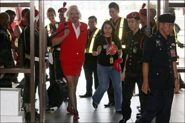 Richard Branson as a stewardess