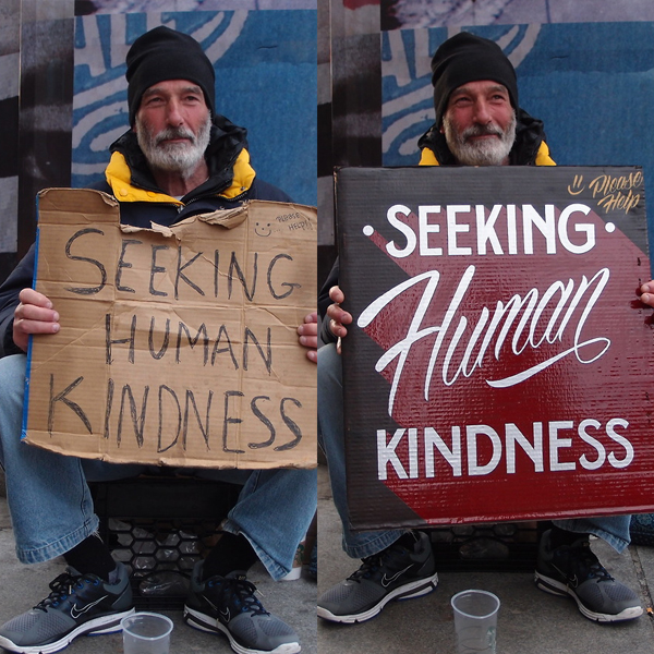 Signs for homeless